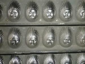 Vintage metal chocolate mould/mold - flat of 27 sunburst & face half eggs.