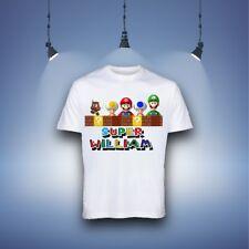 Boys T-shirt Super Mario Cartoon Kids Tops & Shirt Personalised Name