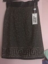 Gianni Versace Brown Leather Skirt With Gold Studs Vintage Never Been Worn