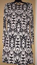 Nicole Miller Mercedes Lumen State Jersey Dress Tribal Black/white Women's Med