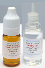 2 x 10ml Bottles JD Windles Clock Oil - Free 1st Class Postage