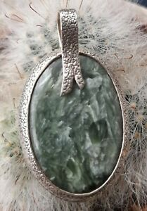 Sterling Silver Pendant with Serpentine