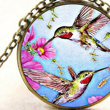 New Hummingbird and Pink Cosmos Flowers, Bird Necklace Glass Pendant, Gift Idea