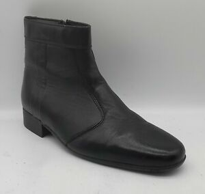 Mens GEORGE OLIVER Since 1860 Size 9UK 43EU Black Leather Boots Zip Fasten EUC