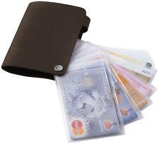 Tarjetero polipiel Marrón 10 fundas tarjetas Carnet Organizador de Bolso