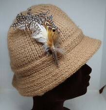 "Knitted Hunting Cap Visor Beanie Tan Feather Brooch Pin 22""/56 cm Circumference"