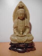 Sculpture statue chinoise pierre dure divinité Guanyin Kuanyin Guan Yin Kuan Yi