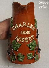 tara - pichet à vin - haute savoie en terre vernissée - charles robert 1888