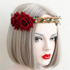 Boho Braid Rose Flower Elastic Garland Hair Band Headband Festival Wedding