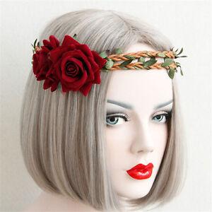 Boho Girl Braid Rose Flower Elastic Garland Hair Band Headband Festival Wedding