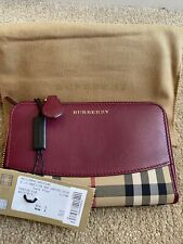 100% Authentic Burberry Marston Medium Zip Around Wallet Purse in Plum Leather