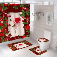 Rose Shower Curtain Set Bathroom Rug Thick Non-Slip Toilet Lid Cover Bath Mat