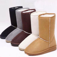 Womens Snow Boots Girl Winter Warm Faux Fur Suede Ankle Shoes Slip On Flat Boots