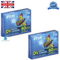 2 TDK DVM60 LP:90 60 Minute Blank Tape Cassettes for MiniDV Camcorders BRAND NEW