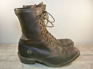 HH Double H Boot #9825 Mens 10 Inch Packer Steel Toe Lacer Work Leather Boots 11