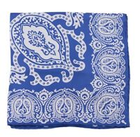 Cesare Attolini Royal Blue Paisley 100% Silk Pocket Square Handmade in Italy