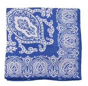 Cesare Attolini Royal Blue Paisley 100% Silk Pocket Square Handmade in Italy