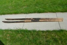 Antique wooden 'Viking' Snow Skis 89 Inches Long