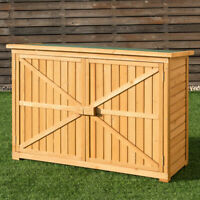 Double Doors Fir Wooden Garden Yard Shed Lockers Outdoor Storage Cabinet Unit