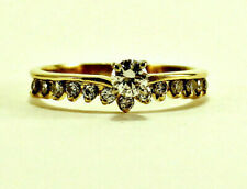 Round Diamond Tiara Band Ring Size 6 Antique Engagement 14k Yellow Gold .20 Tcw