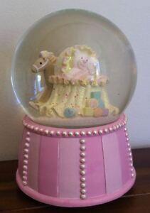 RUSS Pink Bear in Crib/Cot Nursery Baby Girl Musical Waterglobe/Snowglobe Gift