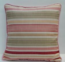 Pale Pinks, Grey-Green, Butter Yellow Stripes Designer Decor Throw Pillow Cover