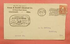1916 CHEMICAL CO MUTTON TALLOW ADVERTISING CINCINNATI OHIO OH + INSERTS