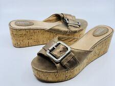 FOSSIL Women's Malea Bronze Platform Big Buckle Cork Wedge Slides Sandals Sz 8.5