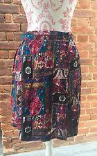 Vintage 90s Burgundy Blue Aztec Culottes Skirt Shorts Skirt Large14 Festival