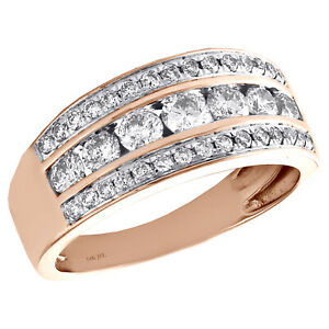 10K Rose Gold Real Round Diamond Wedding Band Ladies 11mm Channel Set Ring 1 CT.