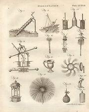 1797 GEORGIAN PRINT ~ HYDROSTATICS WATER APPARTUS SCREW DRILL CUP SHOWER