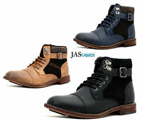 Mens Ankle Casual Chelsea Biker Retro Zip Buckle Lace Up Boots Shoe Size UK 6-11