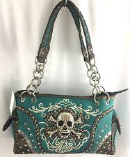 Western Conceal Carry Rhinestone Skull Purse Shoulder Bag Handbag Studded