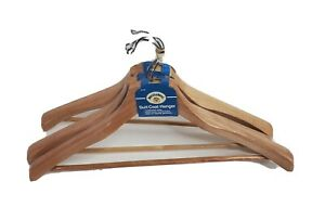 "Clothes Hangers Wood Metal Hanger 3 Count For Heavy Suits Coats Contoured 17.75"""