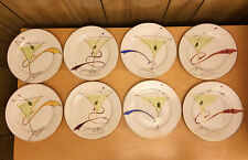 SET OF EIGHT PIER 1 PORCELAIN COCKTAIL PARTY APPETIZER PLATES - MARTINI DESIGN
