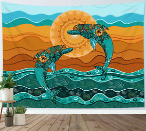 Dolphin Tapestry Turquoise Animal Paisley Wall Hanging For Living Room Bedroom