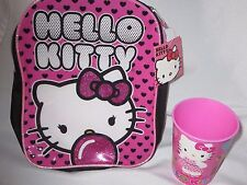 HELLO KITTY MINI FASHION BACKPACK + TUMBLER CUP NEW SET HEARTS & BUBBLEGUM