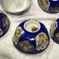 vintage 8 Japan porcelain dinner round soup blue white bowls with flower design