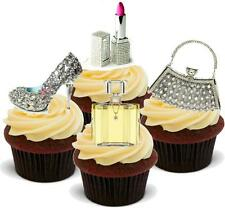 NOVELTY BLING Make Up Handbag Shoe MIX 12 STANDUPS Edible Cake Toppers Birthday