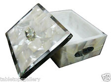 "4""x3""x2"" Marble Jewelry Storage Box Abalone Cyber Monday Inlay Decor Gifts H1893"