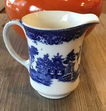 "Flow Blue Crown Pottery John Tams Pitcher Creamer 3 1/2"" Stoke On Trent Canton"