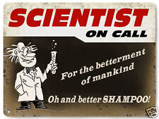 SCIENTIST on call Metal sign funny vintage style lab gift office wall decor 225