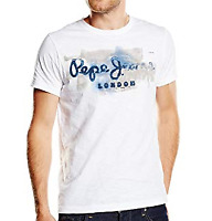 Pepe Jeans Men's Golders 2 Short Sleeve T-Shirt Tee Top White Uk Size XL.