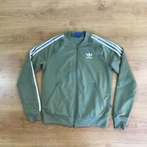 "Adidas Green White Classic 3 Stripe Tracksuit Top Jacket Size 10 38"" Trefoil"