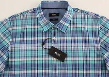 Men's HUGO BOSS White Aqua Navy Plaid Short Sleeve S/S Shirt Medium M NWT NEW