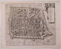 1722 Peter Van der Aa Thesaurum Monumenta Brixiana Mappa Pianta di Brescia