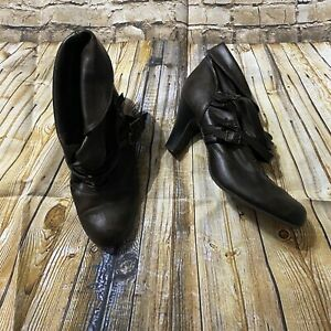 """Decree Womens Size 9 Brown Faux Leather Strappy Ankle Booties 3"""" Heels"""