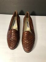 Trotters Liz Womens Size 7 N Brown Leather Slip On Woven Loafers Shoes A2