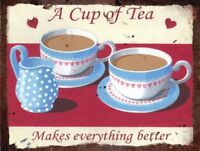 Vintage Metal Wall Sign - Tea makes everything better