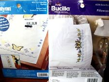 "stamped xstitch pillowcases Bucilla ""BUTTERFLY LACE"" & Janlynn scarf BUTTERFLIES"